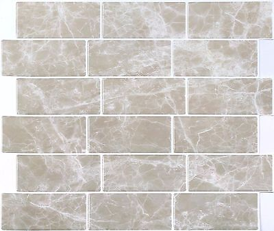 4 Pack of Beige Stone Effect 3D Gel Self-Adhesive Mosaic Tile 3D0008