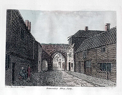 OLD ANTIQUE PRINT BERMONDSEY ABBEY LONDON SOUTHWARK c1780's ENGRAVING by HOOPER