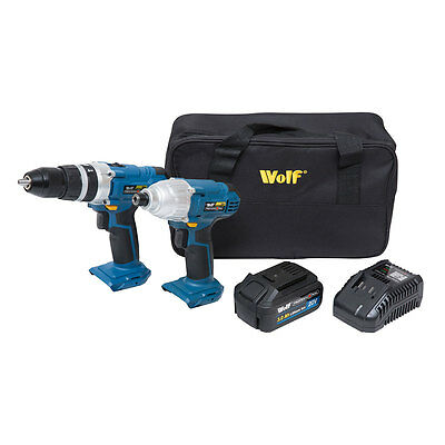 WOLF PRO 20v Cordless Lithium Ion Drill Screwdriver Impact Driver & 2x Batteries