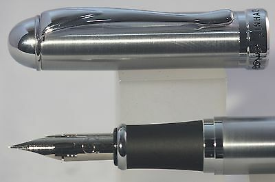 Jinhao x750 Brushed Stainless Steel Fountain Pen, Super Flex Zebra G Nib Fitted