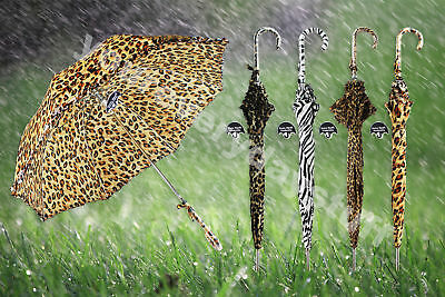 "Umbrella Animal Print Stick Auto Open 21"" Rain Weather Festival Outdoor"