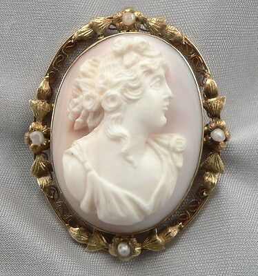 Vintage 10K Yellow GOLD Pink Conch Shell CAMEO & PEARL BROOCH Pin or Pendant
