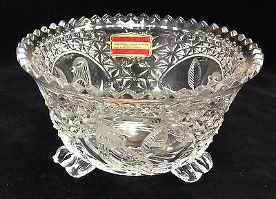"Hofbauer Byrdes Bird 3 Footed Bowl 24% Lead Crystal Hand Cut Glass 5.5"" D"