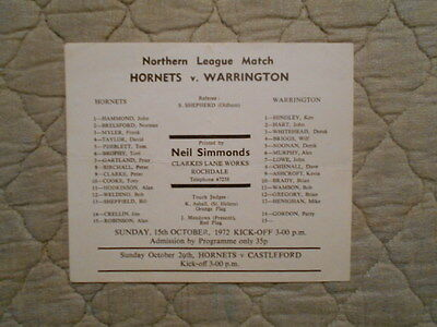 Rochdale V Warrington Rugby League Admission Sheet With Line Ups 1972