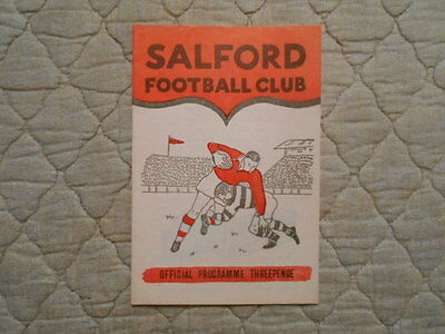 Salford V Halifax Rugby League Cup 1St Round Match Programme 1960