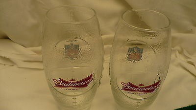 Budweiser NFL football shape beer drink glasses X2 pair glass 20 ounces