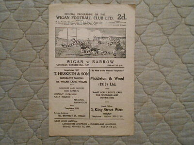 Wigan V Barrow Rugby League Match Programme 1947