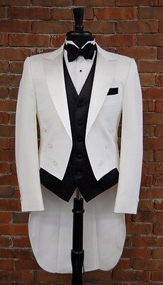 MENS 42 XL  WHITE PEAK LAPEL TAILS TUXEDO JACKET  FULL DRESS  by AFTER SIX