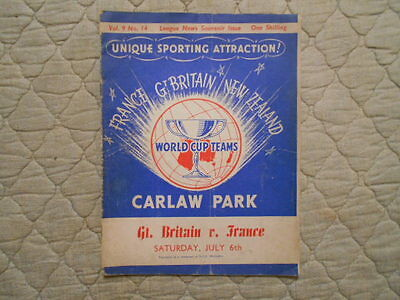Great Britain V France Rugby League World Cup Match Programme 1957