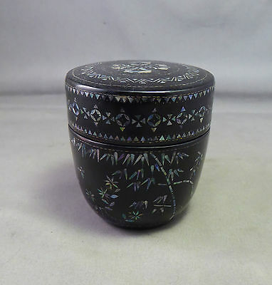 Chinese Lac Burgaute Box or Tea Caddy - Lacquer ware Inlaid Mother of Pearl Rare