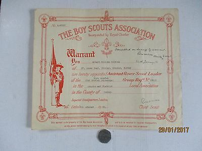 Scouting Interest---Vintage Warrant From 5Th October 1951--Signed By Lord Rowall