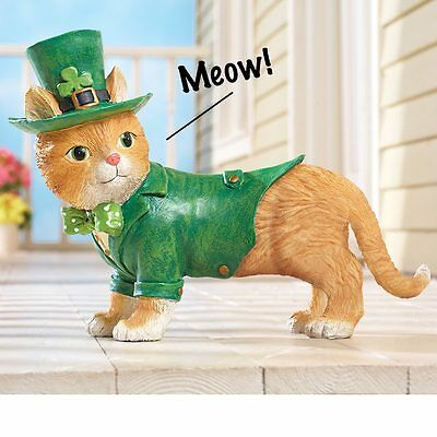 St. Patrick's Day Motion Activated Meowing Kitty Cat Indoor/Outdoor Statue