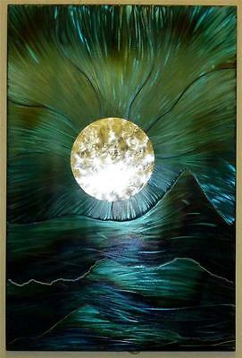 Blue Moon Mount Metal Wall Art Hand Crafted Quirky Sculpture Modern Steel Panel