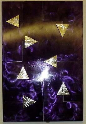 This Way for Purple Metal Wall Art Hand Crafted Sculpture Modern Steel Panel