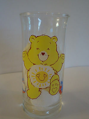 "Vintage 1983 Care Bears Fun Shine Bear Glass 6"" Tall Cup pizza hut yellow"