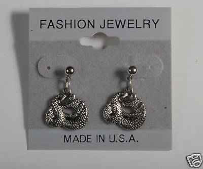 Made In Usa Rattle Snake Earrings Silver Tone  Fashion