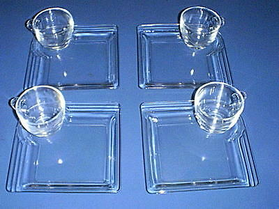 Vintage Clear Glass ~SQUARE Art-Deco~ 4 Plates & 4 Cups Dessert / Snack Tray Set