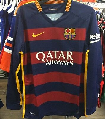 Team FC Barcelona Authentic Long Sleeves Jersey Blue Red Soccer Large Football