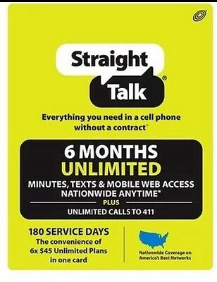 Straight Talk Unlimited Service Refill Card Prepaid Paper 180 Day Mailed