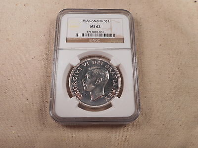 1948 Canada Silver Dollar Key Date NGC MS 62 - Very Nice Collectible Coin