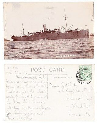 Early Post Card, Ships, H M S Assistance, 1909, RP