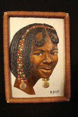 African Woman Framed Acrylic, Signed A. Babe, Olive Wood and African Curio Shop
