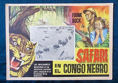 FRANK BUCK Tiger Fangs AFRICA CONGO Lobby Card 1943