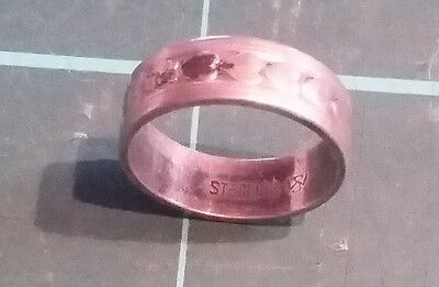 Sterling Silver Heart Embossed Ring 15mm Size 5 3grams