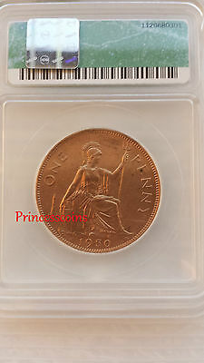 1950*unc*ms-60 Icg George Vi One Penny-Low Mintage Key Date