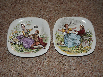 Crown Staffordshire 2 Square Plates Tapas / Trinket Tray Watteau Courting Couple