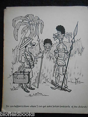 """CLIFFORD C LEWIS """"CLEW"""" Original Pen & Ink Cartoon - Natives & Army Officer #352"""