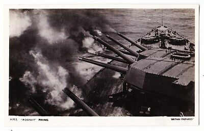 Early Post Card, Ships,  H M S Rodney Firing, RP