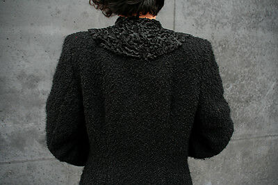 antik 30er Damen Mantel schwarz Persianer Kragen TRUE VINTAGE 40er fur coat