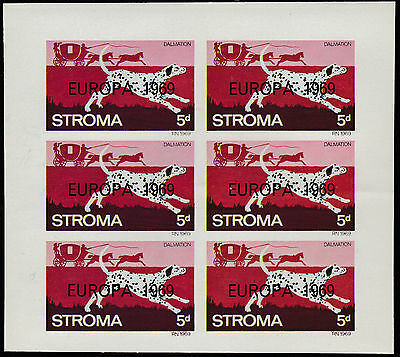 GB Locals - Stroma (1815) 1969 EUROPA overprint on DOGS imperf sheet of 6 u/m