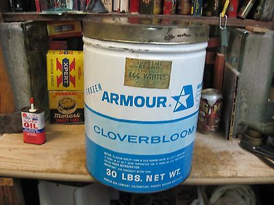 Armour Cloverbloom Eggwhites 30 Lbs Can Store Tin Mid 1900's Original Empty