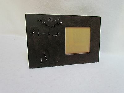 Metal Halloween Black Cat and Bat Picture Frame