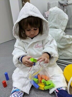 Personalised Embroidered Children's Hooded Terry Toweling Swim Robe Size 6-8