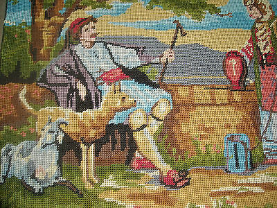 Old Completed Needlepoint Adorable Shepard with sheep