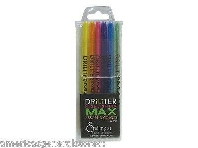 DRILITER MAX Bible HIGHLIGHTERS set of 6 yellow pink orange green blue purple