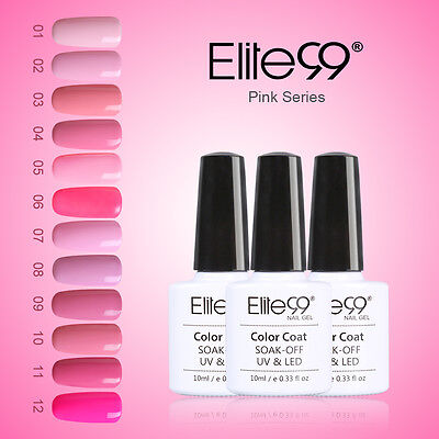 Elite99 Soak Off Gel Polish UV LED Pink Range Shiny Nail Art Base Top Coat 10ML