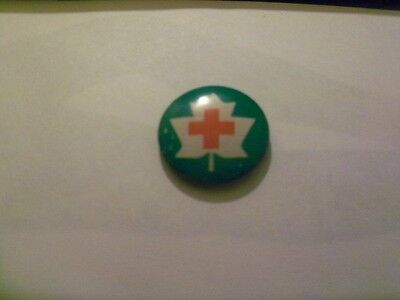 Red Cross  on Green Pin  7/8 ""