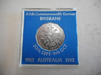 1982 50 Cent Coin Australia XIIth Commonwealth Games Brisbane   Coin cased