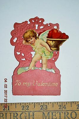 Antique Victorian valentines day card Angel w/Hearts 3D pop-up die-cut embossed