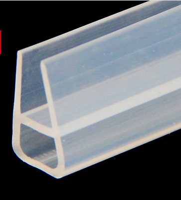 2M U Bath Shower Glass Door Silicone Rubber Strip Seal Sweep for 6-12mm Glass