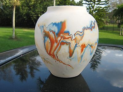 "Nemadji Vase Pottery Usa  Head Mark  8 "" Orange And  Blue Swirl Glaze Inside"