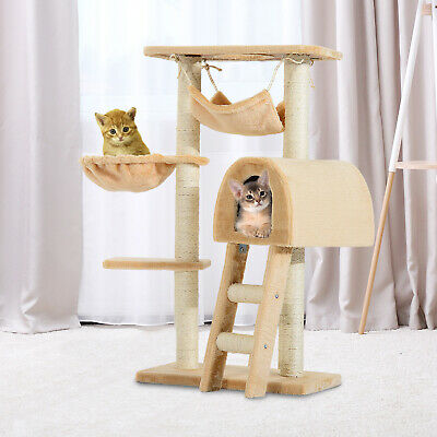 "PawHut 39"" Deluxe Cat Tree Tower Scratching Post Kitten Condo Activity Center"