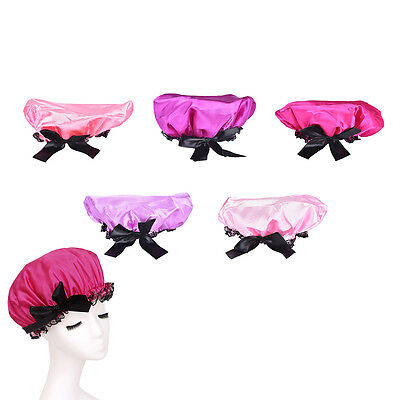 1Pc Waterproof Women Lady Elastic Satin Shower Bathing Salon Hair Cap Hat LAN