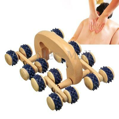 16 Wood Roller Rolling Ball Wheel Hand Massager Back Body Relax Massage Tool