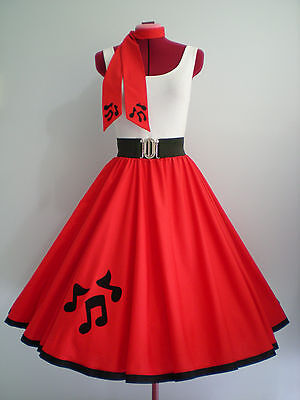 """ROCK N ROLL/ROCKABILLY """"Music Notes"""" SKIRT-SCARF S-M Red."""