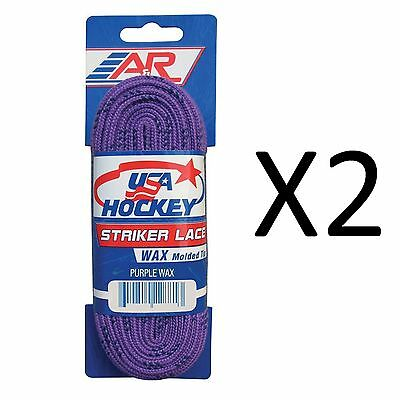 A&R Sports USA Hockey Laces - Waxed Striker Laces - Purple 108 Inches (2-Pack)